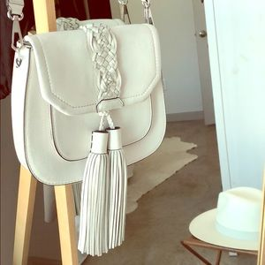 Rebecca Minkoff White Leather Saddle Bag Purse